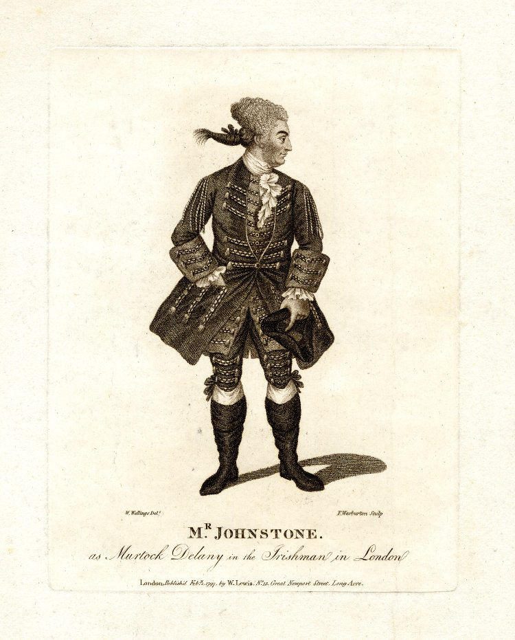 John Henry Johnstone as Murdock Delany in The Irishman in London, 1797 engraving.  British Museum