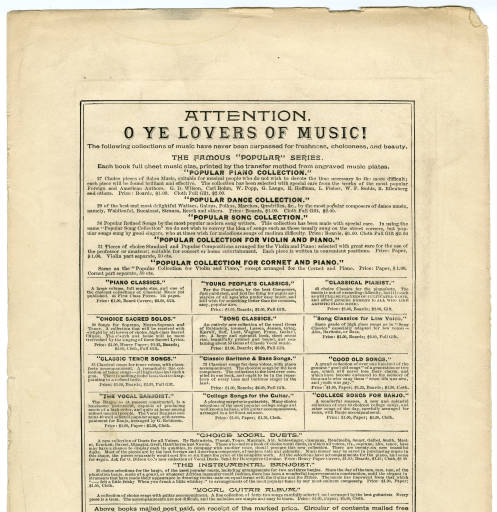 Sheet Music on Offer Courtesy of Utah State University Digital Collection