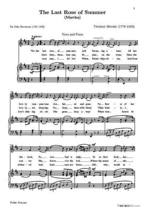 Sheet Music for The Last Rose of Summer http://en.wikipedia.org/wiki/The_Last_Rose_of_Summer