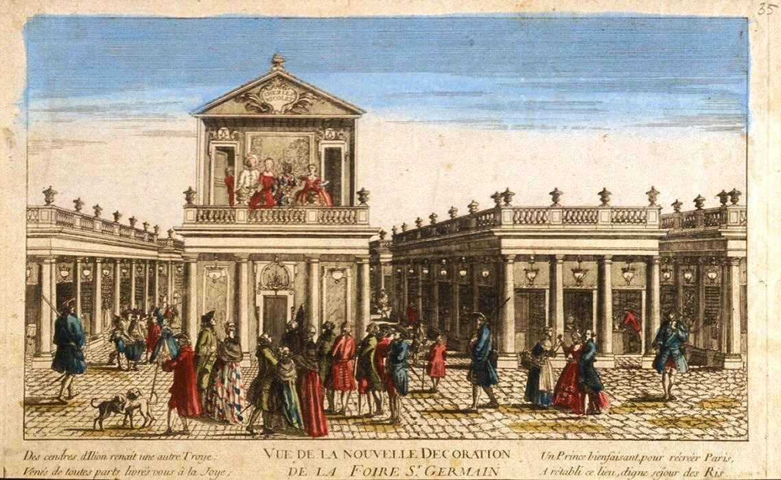 The Foire Saint-Germain after its reconstruction in 1763. A parade, a short comic entertainment to entice passersby to buy tickets, is being performed on the balcony of Nicolet's theatre. Wikimedia Commons